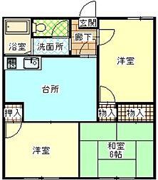 サニーハイツ小沢[102号室]の間取り