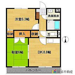 熊本県玉名市築地の賃貸マンションの間取り