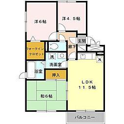 セジュールMEタケイシA[3階]の間取り