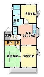 ライムハウスA・B・C棟[2階]の間取り