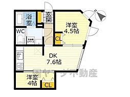 NOZOMIO OHIMACHI TERRACE 3階2DKの間取り