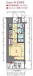 JR東海道・山陽本線 兵庫駅 徒歩3分の賃貸マンション 15階1Kの間取り