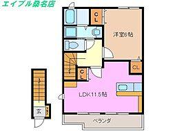 三重県桑名市大字芳ケ崎の賃貸アパートの間取り
