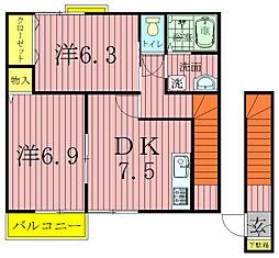 カーサ・ジラソーレI[2階]の間取り