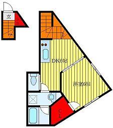 東京メトロ南北線 駒込駅 徒歩3分の賃貸アパート 2階1DKの間取り