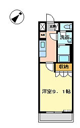 埼玉県東松山市松山町2丁目の賃貸アパートの間取り