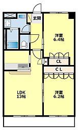 名鉄豊田線 黒笹駅 徒歩31分の賃貸アパート 2階2LDKの間取り