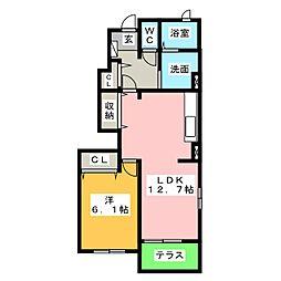 愛知県名古屋市中川区かの里2の賃貸アパートの間取り