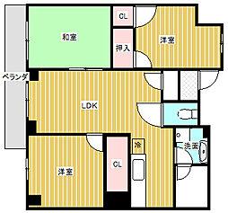 愛知県名古屋市昭和区前山町3丁目の賃貸マンションの間取り