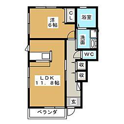 ボヌール中田B[1階]の間取り
