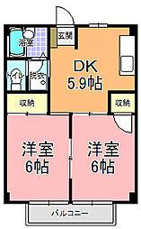 仲屋コーポ諏訪 2階2DKの間取り