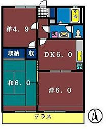 グレース田喜野井3番館[105号室]の間取り