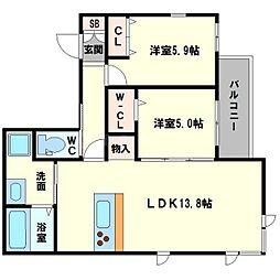 仮称 東淀川小松4丁目ヘーベルメゾン 3階2LDKの間取り