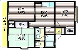 東京都三鷹市北野2の賃貸アパートの間取り