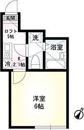 JR京浜東北・根岸線 本郷台駅 徒歩9分の賃貸アパート 1階1Kの間取り