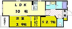 パースペクティブ福津中央 1階1SLDKの間取り