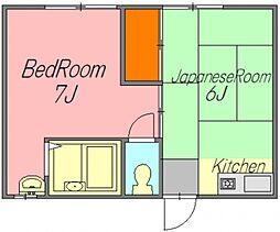 広島県広島市佐伯区美の里2丁目の賃貸アパートの間取り