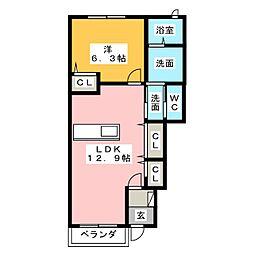 花メゾンB[1階]の間取り