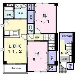 しなの鉄道 坂城駅 徒歩13分の賃貸アパート 2階2LDKの間取り
