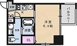 アドバンス上町台プレジール 9階1Kの間取り
