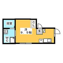 カーサピアッツア三ノ輪 3階ワンルームの間取り