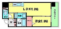 アーバネックス北堀江II 13階1LDKの間取り