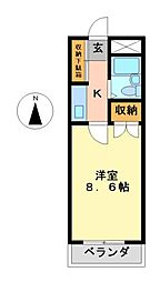 愛知県名古屋市中村区小鴨町の賃貸マンションの間取り