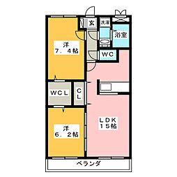 エクセルコートA[2階]の間取り