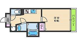 プレミアムコート天王寺EAST 5階1Kの間取り