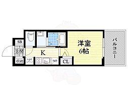 エステムコート新大阪13ニスタ 5階1Kの間取り
