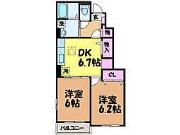 愛媛県松山市市坪北1丁目の賃貸アパートの間取り