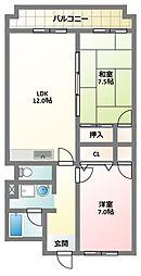 大阪府寝屋川市点野2丁目の賃貸マンションの間取り