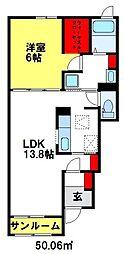 アクアマリン 1階1LDKの間取り