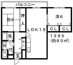 オースクレイン[402号室号室]の間取り