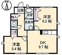 シャーメゾン中須賀[A101号室]の間取り
