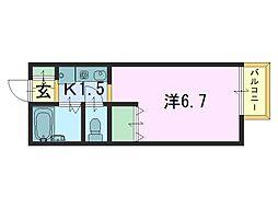 奈良県奈良市芝辻町3丁目の賃貸アパートの間取り