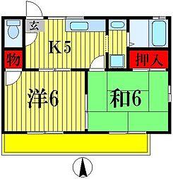 サニーハイツA棟[1階]の間取り