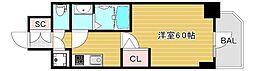 エスリード大阪城クローグ 10階1Kの間取り