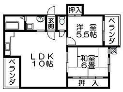 ラピュタクモン 横枕西 荒本8分[4階]の間取り