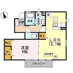 山口県下関市熊野町1丁目の賃貸アパートの間取り