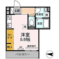 仮)ディールーム新川崎 3階ワンルームの間取り