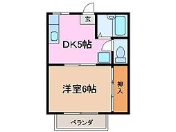 三重県津市桜橋2丁目の賃貸アパートの間取り