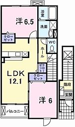 グリーンヒルズIII 2階2LDKの間取り