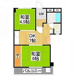 大阪府堺市東区高松の賃貸マンションの間取り