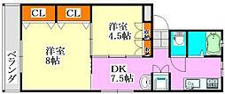 三輝本マンション[2階]の間取り