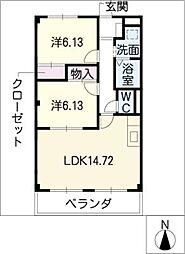 アパートメント キダ N棟[2階]の間取り