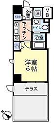 東急東横線 反町駅 徒歩3分の賃貸マンション 1階1Kの間取り
