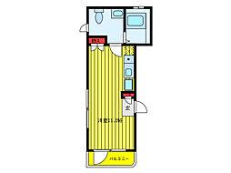 ブラン文京本駒込 2階ワンルームの間取り