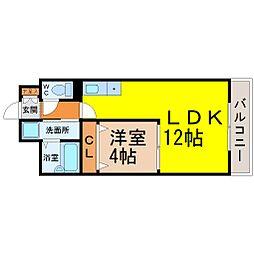 愛知県名古屋市瑞穂区牛巻町の賃貸マンションの間取り
