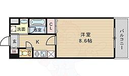 阪急千里線 山田駅 徒歩5分の賃貸マンション 2階1Kの間取り